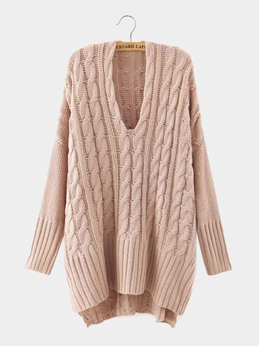 V Neck Cable Knit Jumper in Pink