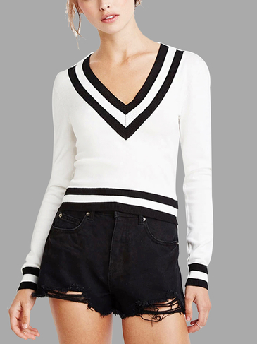 White Stripe V-neck Simple Jumper