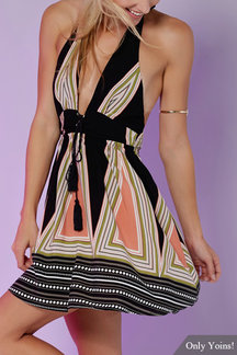 Plunge Self-tie Halter Neck Lace-up Multicolor Stripe Pattern Open Back Mini Dress