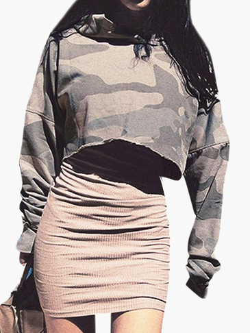 Fashion Camouflage Pattern Hoodie Crop Sweatshirt with Long Sleeves