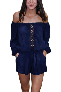 Off-the-shoulder Chiffon Playsuit In Blue
