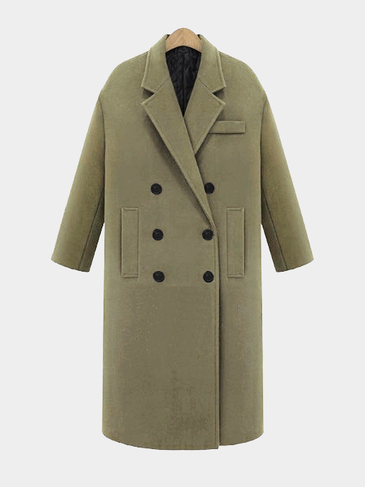 Guilted Duster Coat in Light Green