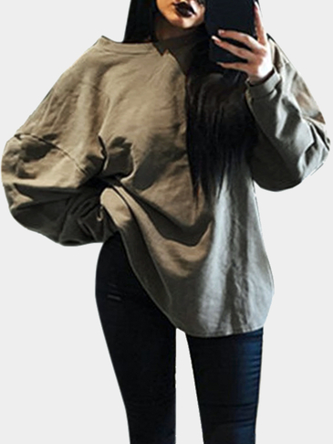 Coffee Casual Round neck Long Sleeves Sweatshirt