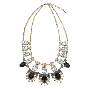 Leaf Shape Crystal Layered Necklace
