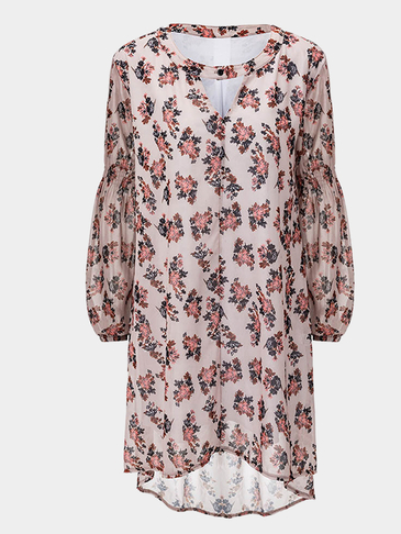 Loose Random Floral Pattern Mini Dress with a Button Front