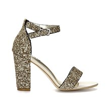 Glod Sequin Ankle Strap High Heeled Sandals