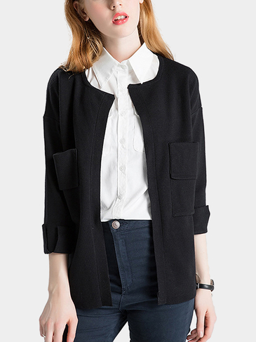 Black Chest Pocket Open Cardigan