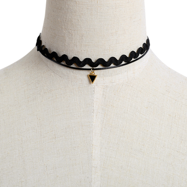 Suede Chain Necklace with Triangle Pendant