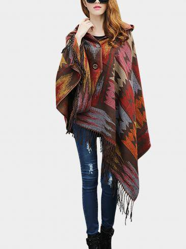 Coffee Geo-Tribal Hooded Cape