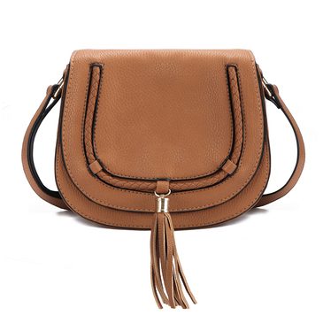 Brown Big Shoulder Bag with Tassel Embellished