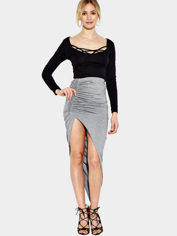 Grey High-waisted Irregular Hem Midi Skirt