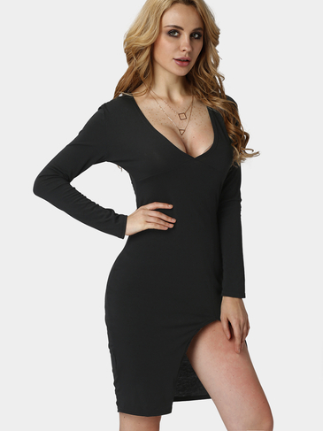 Black Plunge V-neck Irregular Split Bodycon Dress