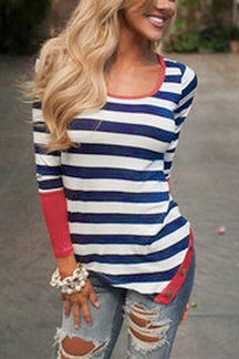 Black Stripe Asymmetric Long Sleeve Top With Red Cuffs