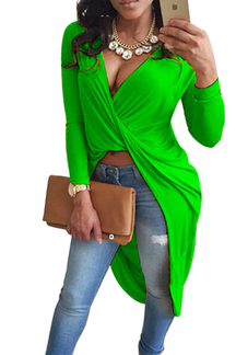 Green V-neck Cross Front Top with Step Hem