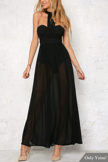 Chiffon Black Sleeveless Halter Maxi Dress