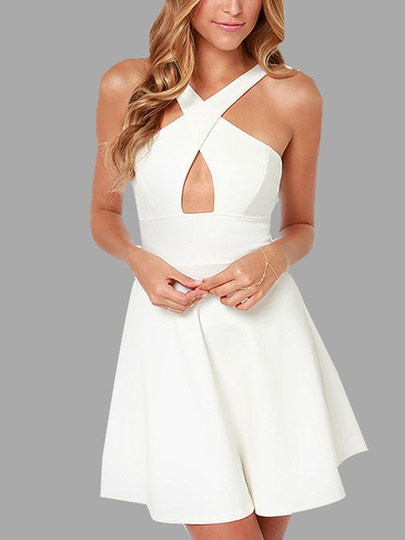 Hollow Out Strapless Backless Halter Dress