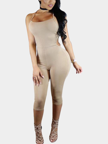 Sexy Sleeveless Bodycon Halter Midi Jumpsuit