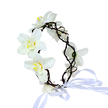 Woven Rattan Wreath Lace Tying Headband