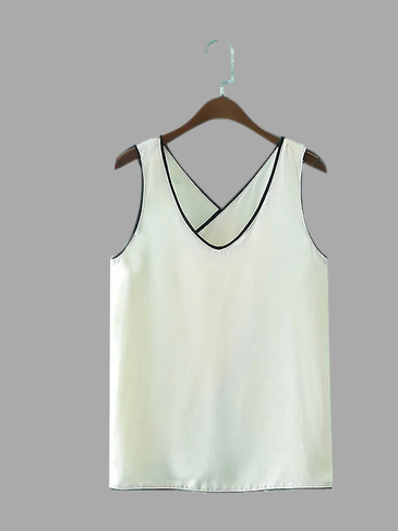 Leisure Spell Color V-neck Cross Back Vest
