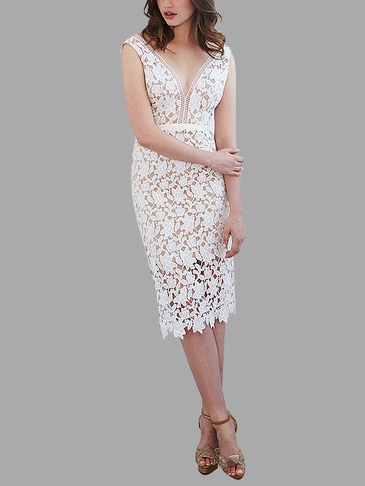 White Sleeveless Plunge Neck Lace Midi Dress