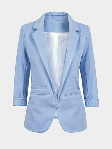 Light Blue Fashion 3/4 Length Sleeves Open Front Blazer