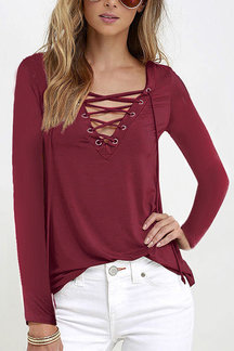 Burgundy Casual V-neck Lace-up Design Long sleeves T-shirts
