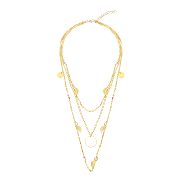 Gold Plated Layered Leaf and Artificial Crystal Necklace