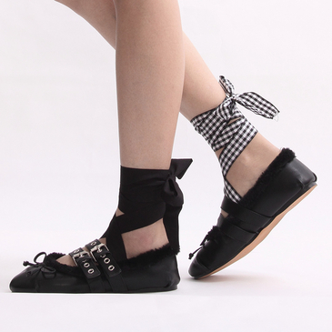 Black Lace-up Fleece Lined Flats with Buckle Fasten