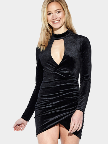 Black Velvet Long Sleeves Wrap Front Hollow Mini Dress