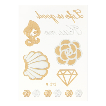 Beauty Rose Metallic Temporary Body Tattoo Sticker