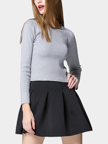 Light Grey Round Collar Long Sleeve Skinny Jumper
