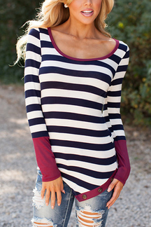 Black Stripe Asymmetric Long Sleeve Top With Wine Cuffs