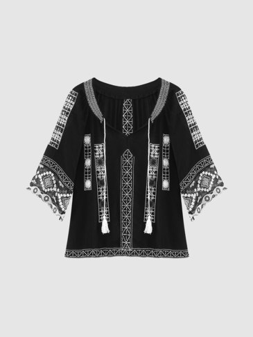 Black Lace Splicing Sleeve Embroidered Blouse