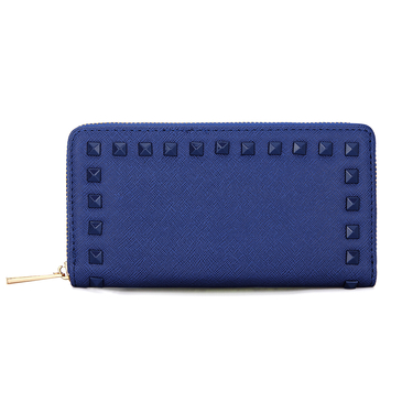 Studded Leather-look Long Purse with  Embellishment in Blue