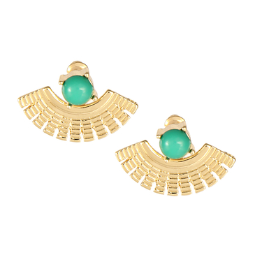 Green Artificial Gem Fan Stud Earrings