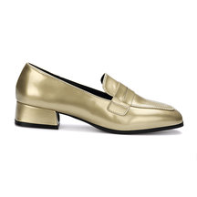 Gold Classic Leather Look Square Toe Slip-on Loafers