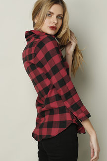 Red Lapel Collar Grid Pattern Button Front Shirt