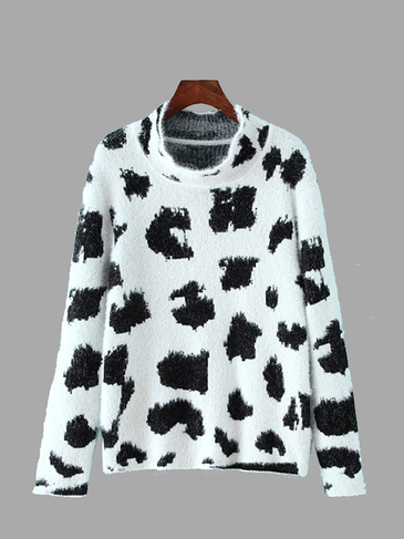 Fluffy Long Sleeve Leopard Pattern Jumper