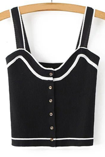 Sexy Round Neck Sleeveless Button with Details Vest