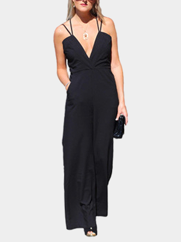 Shoulder Straps Backless Tube Top High-waisted Jumpsuit