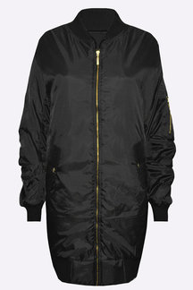 Black Longline Front zip Quilted Jacket