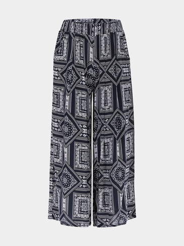 Blue Vintage Print Stretch Waistband Wide Leg Trousers