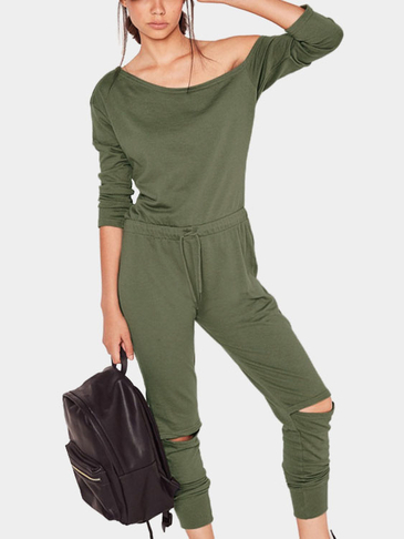 Green One Shoulder Drawstring Waist Hollow Knees Jumpsuit