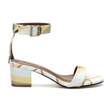 Contrast Color Block Single Strap Front Fashion Heel Sandals