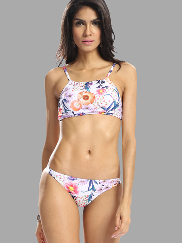 Random Floral Print Bikini Set with Adjustable Straps