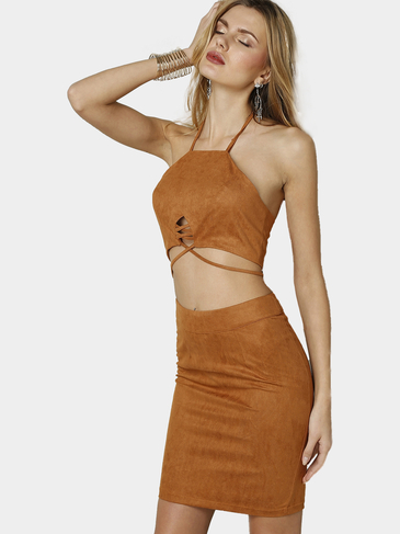 Suede Halter Open Back Lace-up Crop Top & Mini Splited Hem Skirt Co-ord