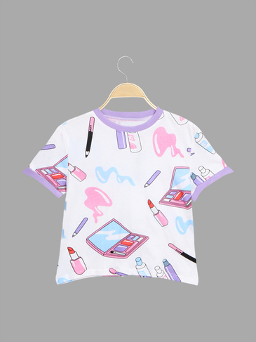 Unique Make-up Print Pattern Crop T-shirt
