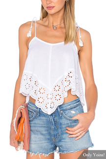 White Crochet Trim Shoulder Tie With Tassel Camis