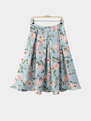 Floral Print Pleated Midi Skirt