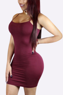 Burgundy Sexy Bodycon Vest Mini Dress